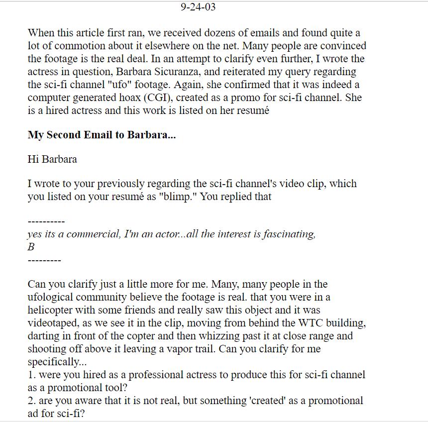 """Intercambio de correos con """"Barbara"""" la actriz contratada por el portal SciFi.com en el año 2000 para la realización del video del Ovni del WTC"""